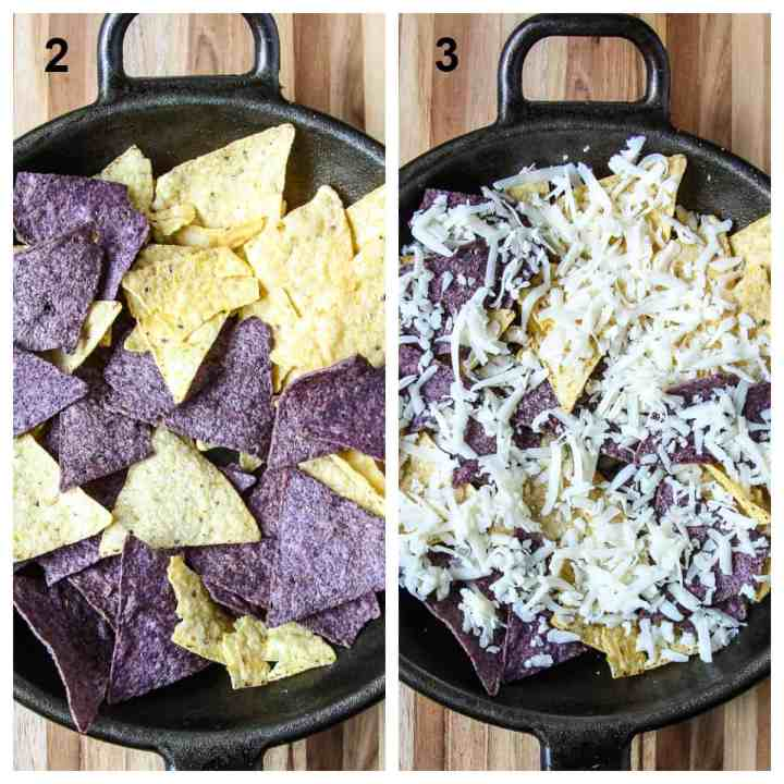 Building the nachos, adding a layer of chips to the pan, then cheese.