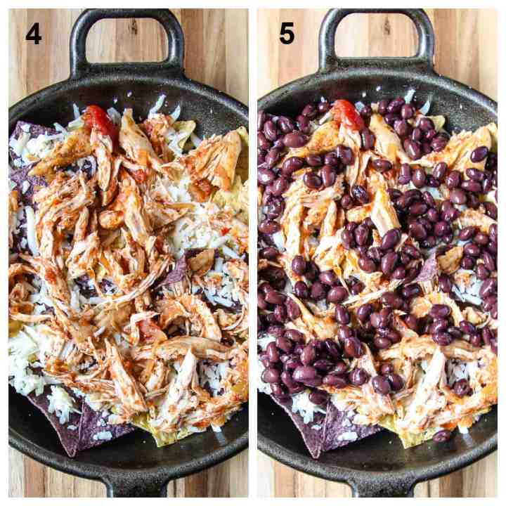 A layer of turkey is added, then a layer of beans.