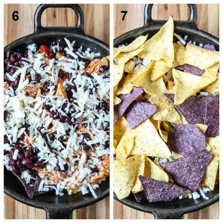 Adding another layer of cheese and then another layer of chips.