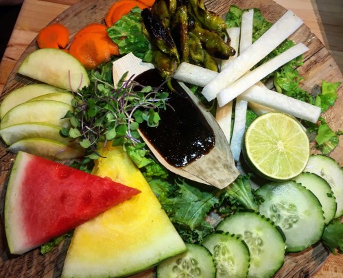 Belching Beaver vegetable fruit platter