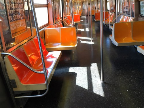 new york city empty subway car
