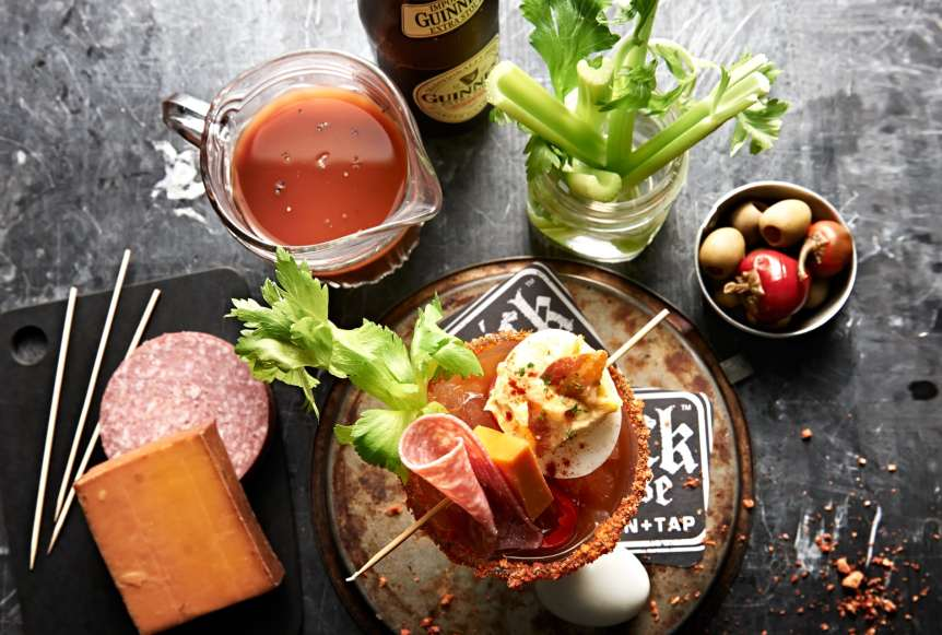 commercial food, food photography, advertising, restaurant, editorial, cookbooks, cook books, table top, dining, drinks, beverage, bloody mary, brunch, salami, cheese, tomato juice, celery, food styling, Ralph Smith Food Beverage Photography