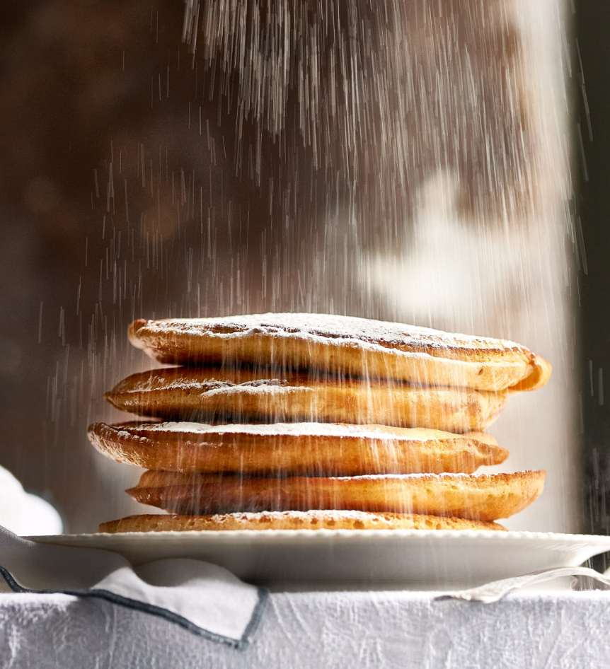 studio, commercial food, food photography, advertising, restaurant, editorial, cookbooks, cook books, Dallas, Houston, food styling, prop styling, props, state of the art, commercial kitchen, dessert, pancakes, powdered sugar, breakfast, Ralph Smith Dessert Photography