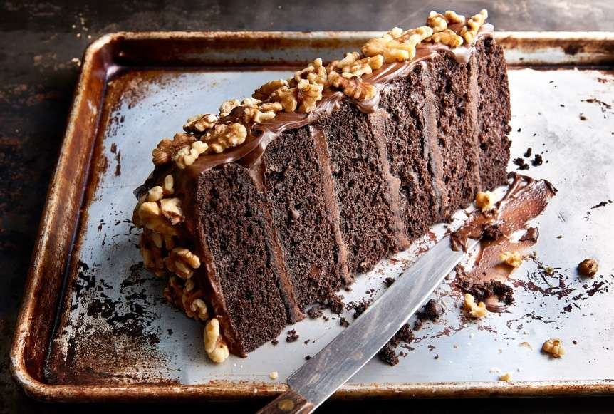 studio, commercial food, food photography, advertising, restaurant, editorial, cookbooks, cook books, Dallas, Houston, food styling, prop styling, props, state of the art, commercial kitchen, dessert, chocolate cake, nuts, frosting, Ralph Smith Dessert Photography