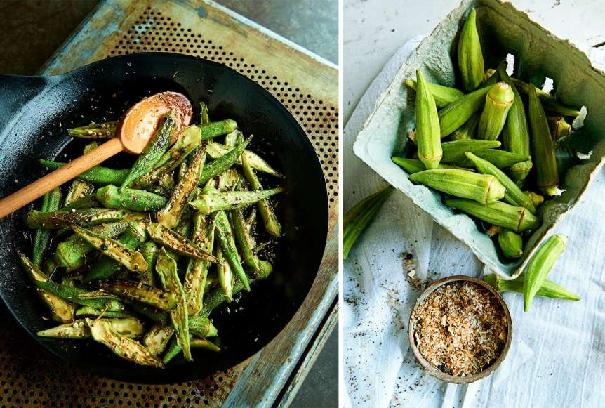 Ralph Smith Savory Food Beverage Photography, okra, roasted vegetables, food photography, commercial advertising