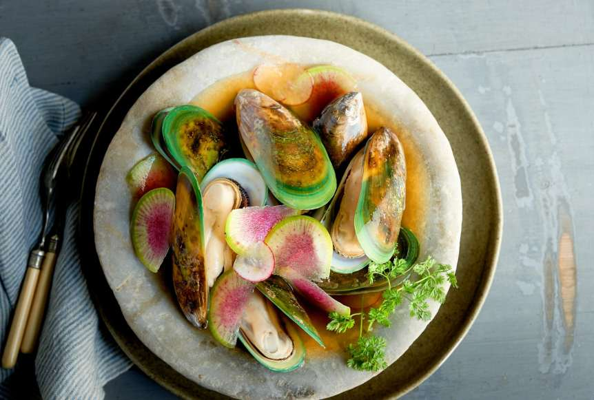 Ralph Smith Savory Food Beverage Photography, clams, rainbow, purple radish, food photography, advertising