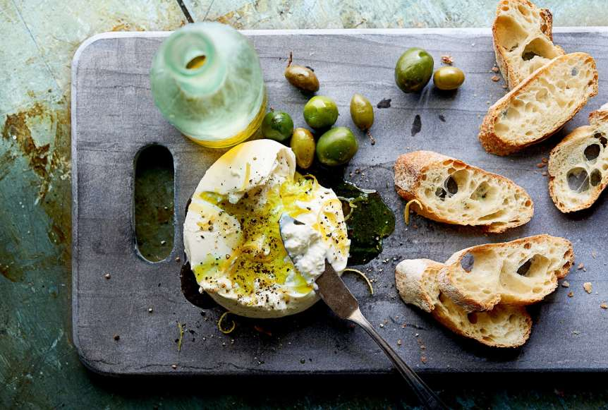 commercial food, food photography, advertising, restaurant, editorial, cookbooks, cook books, table top, dining, burrata, beer, olive oil, toastini, olives, food styling, prop styling, Ralph Smith Food Beverage Photography