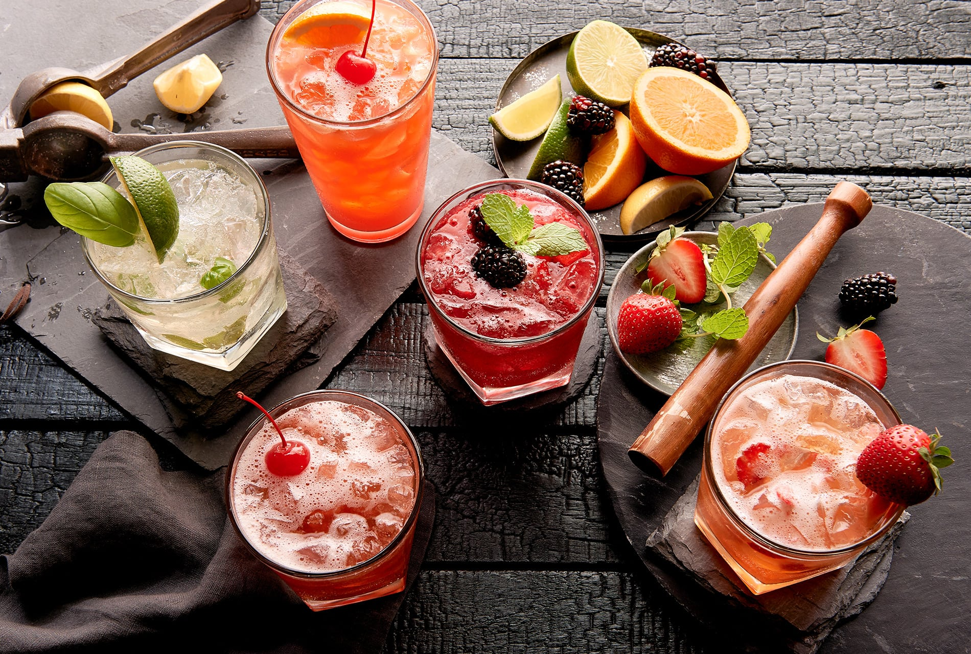 advertising beverage commercial drinks restaurant houston prop cookbooks cook editorial books styling cocktails oranges squeeze blackberries muddle strawberries citrus lime