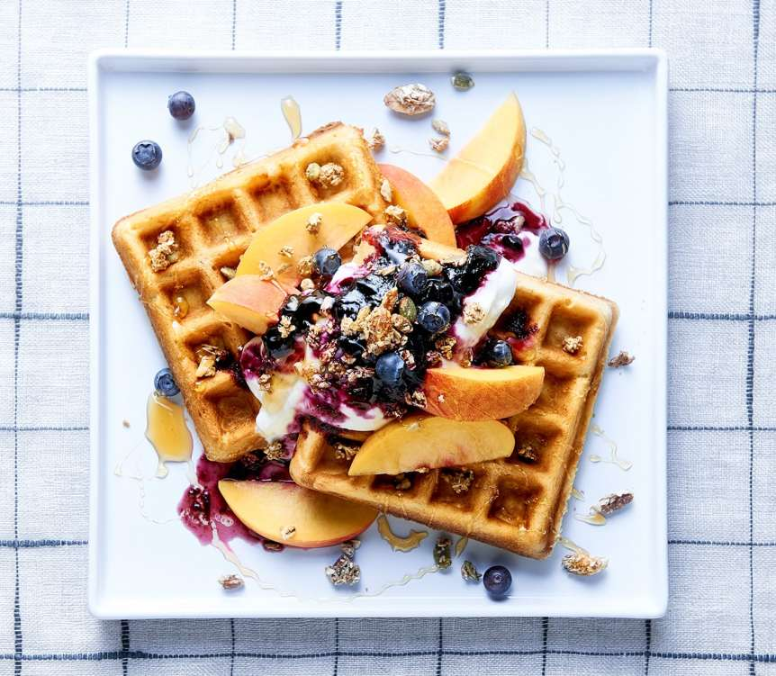 studio, commercial food, food photography, advertising, restaurant, editorial, cookbooks, cook books, Dallas, Houston, food styling, prop styling, props, state of the art, commercial kitchen, waffles, peaches, blueberries, cream, breakfast, syrup, jam, yogurt, Ralph Smith Dessert Photography