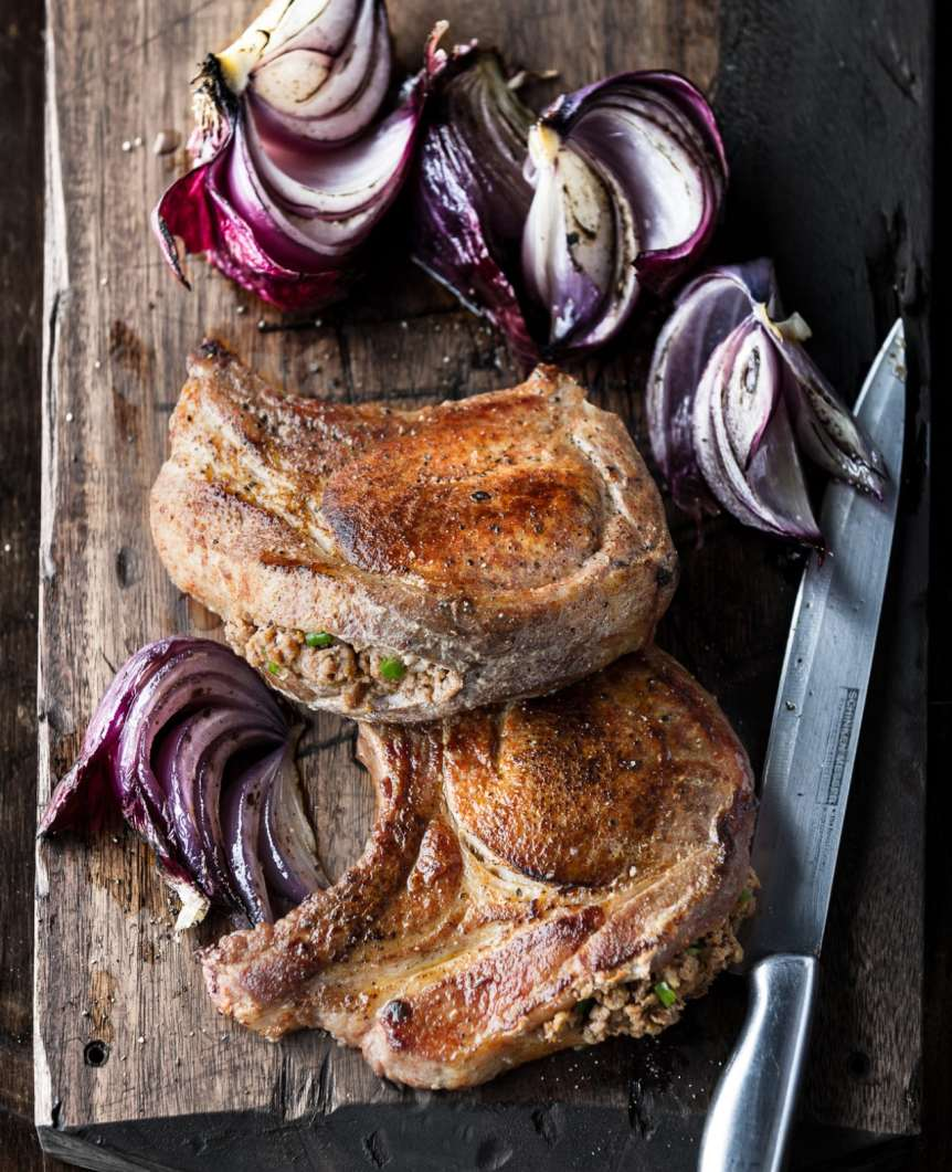Manny Rodriguez food beverage photography, commercial food, food photography, advertising, restaurant, editorial, cookbooks, cook books, table top, dining, prop styling, pork chops, roasted onions