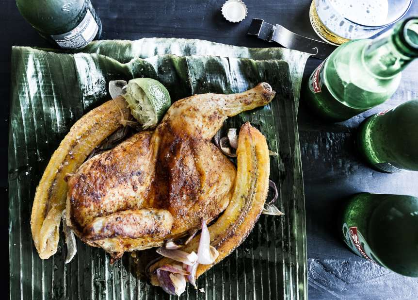 Manny Rodriguez Food Beverage Photography, commercial food, food photography, advertising, restaurant, editorial, cookbooks, cook books, table top, dining, prop styling, bananas, plantains, serves, chicken legs, limes