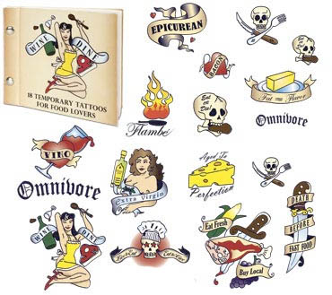 with these Food Lover Temporary Tattoos featuring gastronomic imagery in