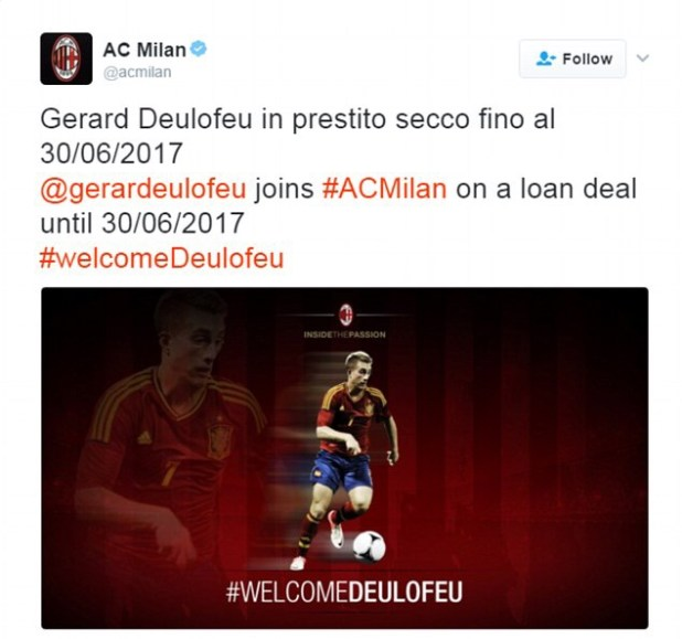 AC Milan's tweet pictured before it was deleted