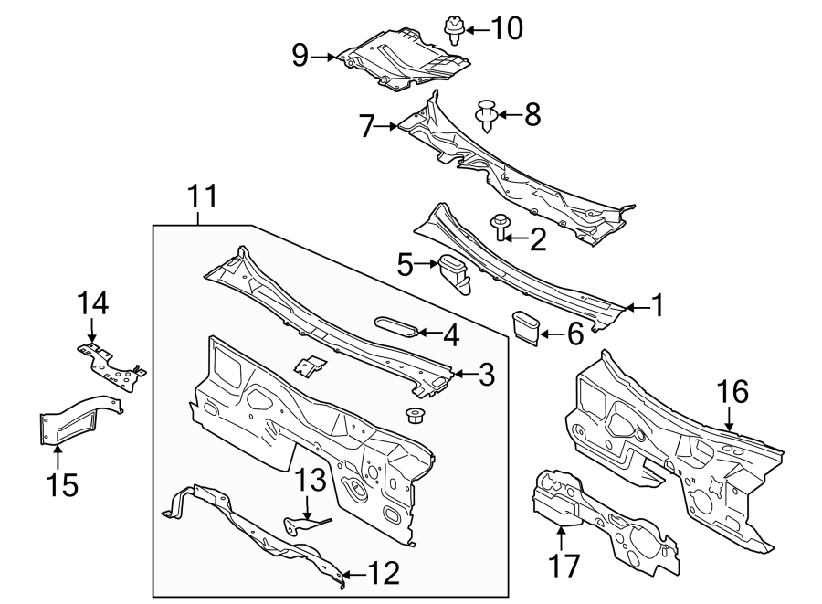 Ford Mustang Engine Compartment Insulation (Front, Lower