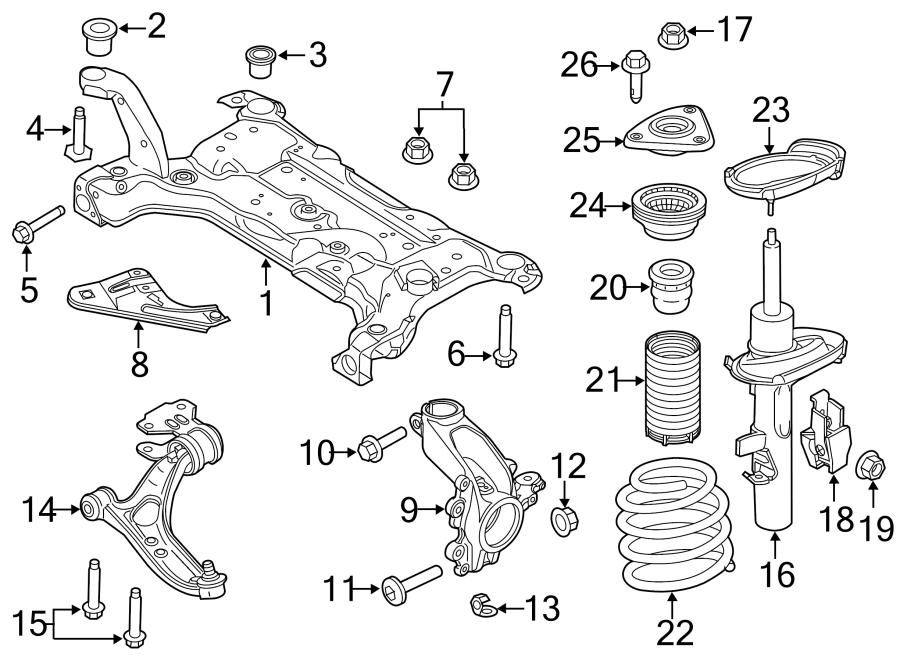 Ford Focus Steering Knuckle (Front). SUSPENSION, Left
