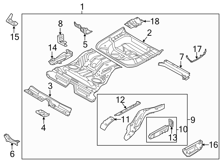 Ford Taurus Floor Pan Crossmember (Front, Rear). Center