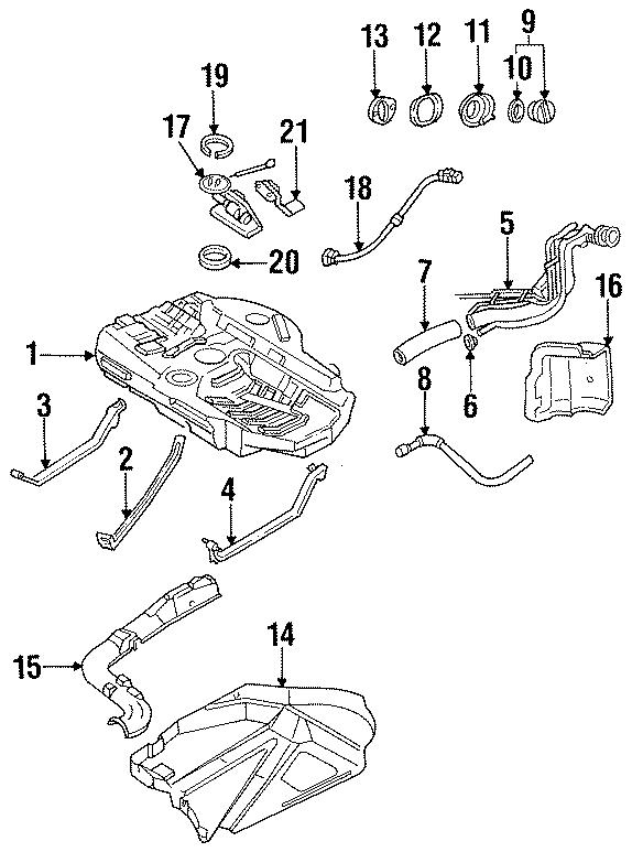 Ford Contour Fuel Tank Lock Ring. 1.8 LITER. 1.9 LITER