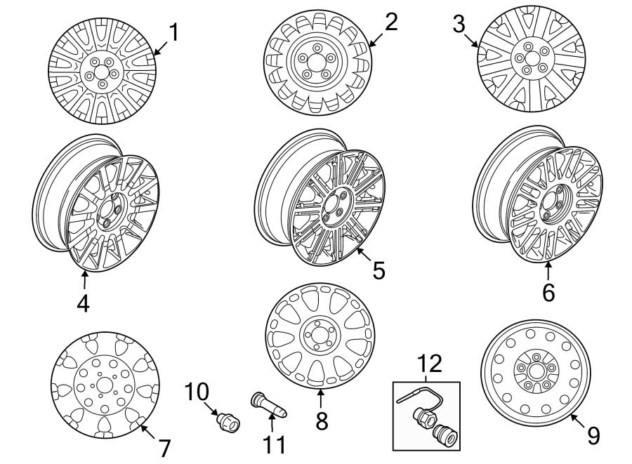 Ford Bronco Wheel Lug Nut. Wheels, Exposed, Steel