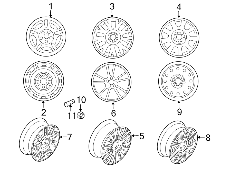 Mercury Grand Marquis Wheel Lug Nut. Wheels, Exposed