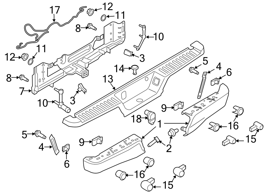 Ford F-150 Park sensor bracket. Retainer. (Rear). Outer