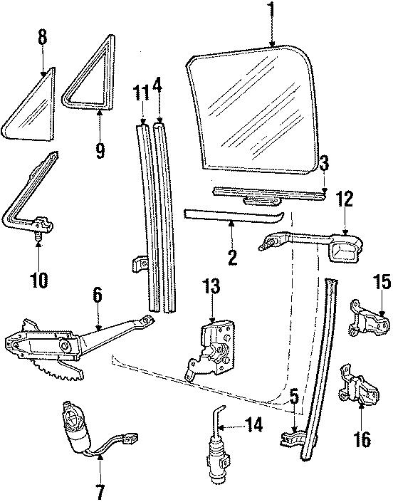 Ford Bronco Window Regulator. Right, Manual, Side
