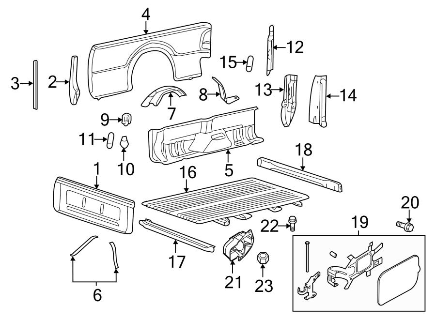 Ford F-350 Super Duty Truck Bed Panel. 8 FOOT BOX, w/dual