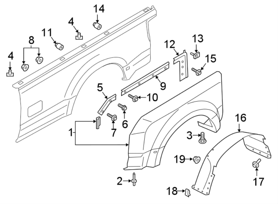 Ford F-350 Super Duty Fender (Rear). 8 FOOT BOX. Right