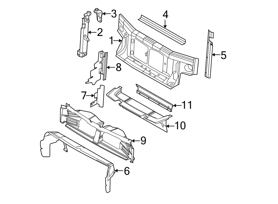 Ford Explorer Radiator Support Air Duct. 2006-10