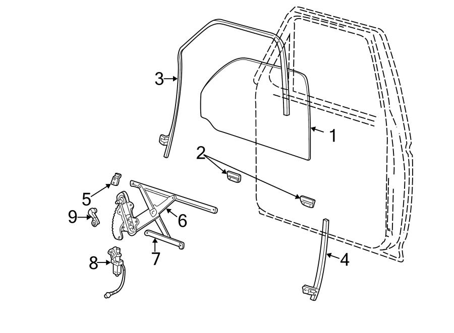 Ford Explorer Power Window Motor. DOOR, Left, GLASS