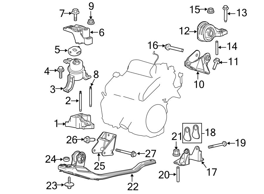 Ford Escape Engine Mount Nut. 3.0 LITER, 2005-06. Side