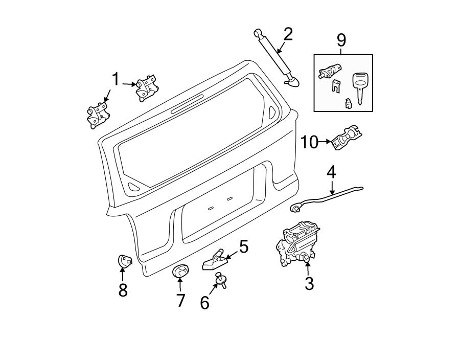 Mercury Mariner Handle. LOCK, Actuator, Trunk