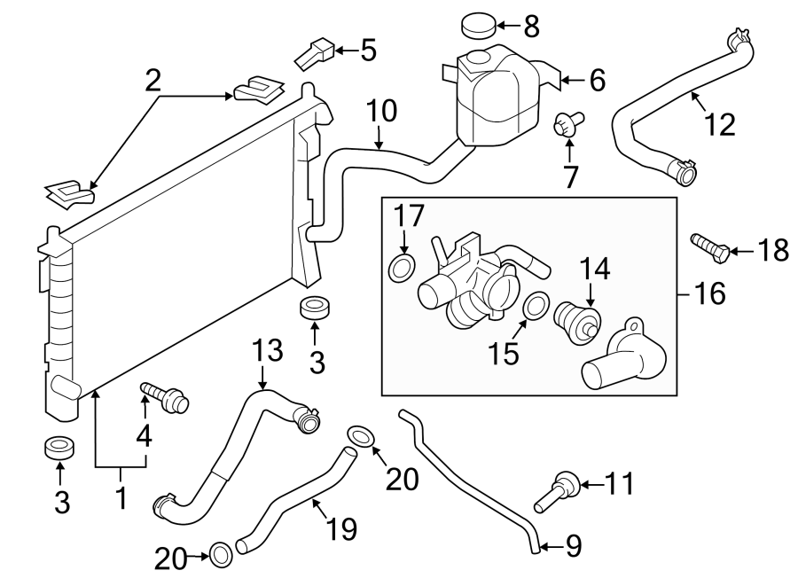 Lincoln MKX Engine Coolant Overflow Hose. 3.5 LITER. 3.7