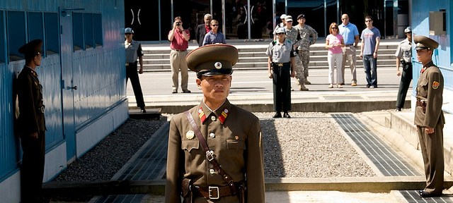 Communist soldiers guard the Demilitarized zone between North and South Korea [fresh888]