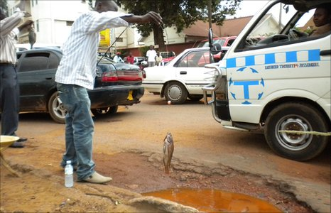 This fishing stunt in 2010 was a protest against the failings of Kampala mayor Ssebagala to do anything about the potholes