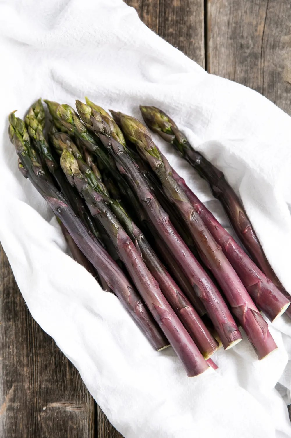 Sauteed Purple Asparagus with Kale, Shallots and Toasted Breadcrumbs