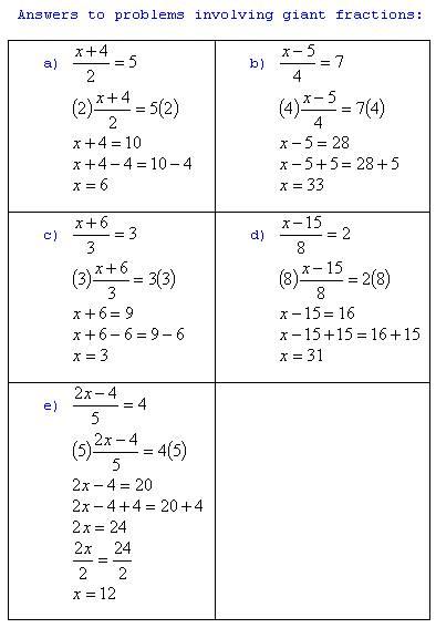 freemathtutoring  Basic Algebra Answers 3 giantfrac part