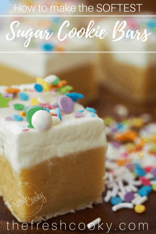 How to make the SOFTEST Sugar Cookie Bars with fluffy, light buttercream. #thefreshcooky #sugarcookie #sugarcookiebars #cookies #buttercream #potluck #teamfeed