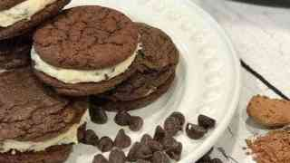 Brownie Sandwich Cookies with Cookie Dough Frosting