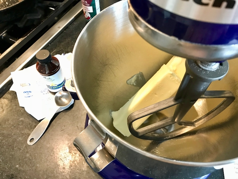 Mixing the butter for cadbury cookie cake | www.thefreshcooky.com