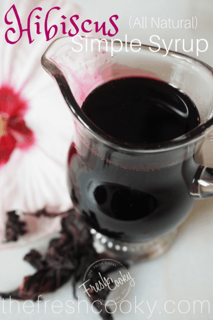 Give this all-natural Hibiscus Simple Syrup a try today! This recipe from thefreshcooky is well, simple and oh so delicious! Use it for craft cocktails, mojitos, stir into iced-tea, spritzers or a twist on a Shirley Temple. Made with dried, natural hibiscus flours, natural sugar and water! Makes a lovely gift as well! #floral #cocktail #hibiscussyrup #simplesyrup #hibiscus #flowerycocktail #driedhibiscusflowers #syrup #mocktails