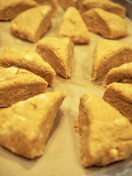 This whole grain recipe for Maple Pumpkin Scones is the perfect fall treat! Fresh, light, moist Pumpkin scones are sweetened only with maple syrup, with a beautiful balance of fall spices and then topped with a lovely browned butter maple glaze. #thefreshcooky #maple #scones #pumpkin #wholegrain #mapleglaze