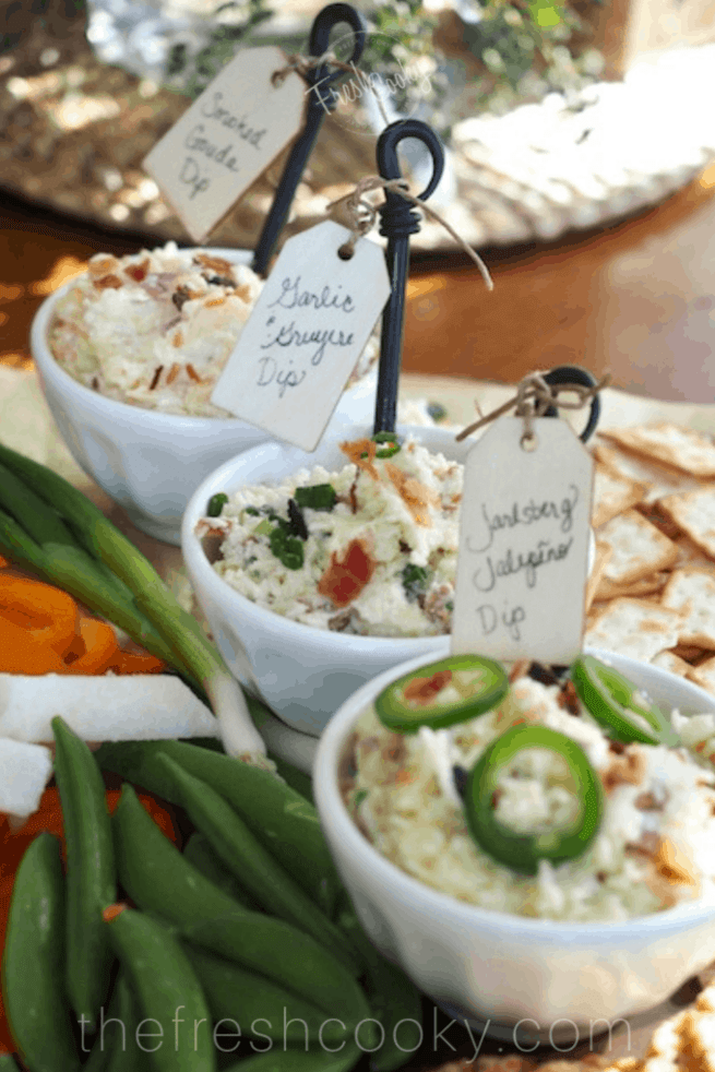 trio of delicious cheese dips on cheese board | www.thefreshcooky.com