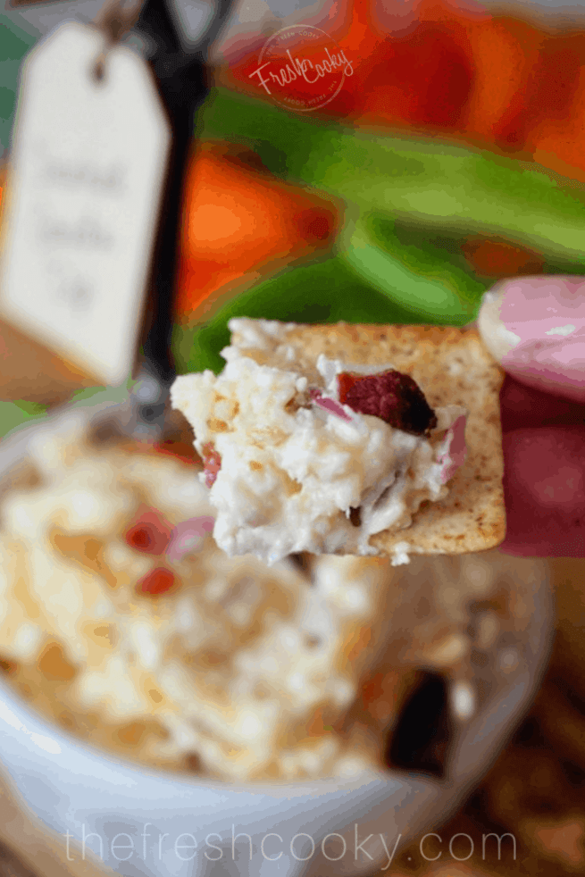 Smoked Gouda Dip on Cracker | www.thefreshcooky.com