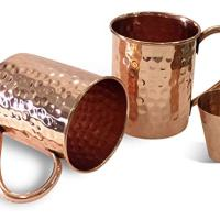 Set of 2 Moscow Mule Copper Mugs with Free Shot Glass in Awesome Gift Box by CLASSIC GIFT - Handmade of 100% Pure Copper, No Nickel Interior, Copper Handle - Hammered Finish 16 Oz