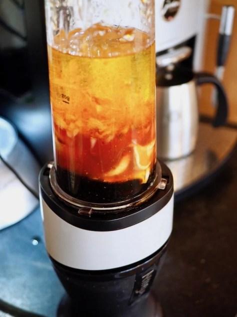 blending maple dijon dressing in blender   www.thefreshcooky.com