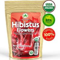 Hibiscus Tea 1LB 100% CERTIFIED Organic Hibiscus Flowers Herbal Tea (WHOLE PETALS), Caffeine Free