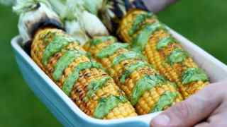 Grilled Corn on the Cob with Creamy Avocado Dill Dressing • Happy Kitchen