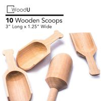 Mini Wooden Kitchen Scoops for Bath Salts, Candy, Spice, Dry Fruit, Salt, Laundry Detergent (10 Pack)
