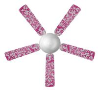 Sweet Pea Birght Pink Damask Ceiling Fan