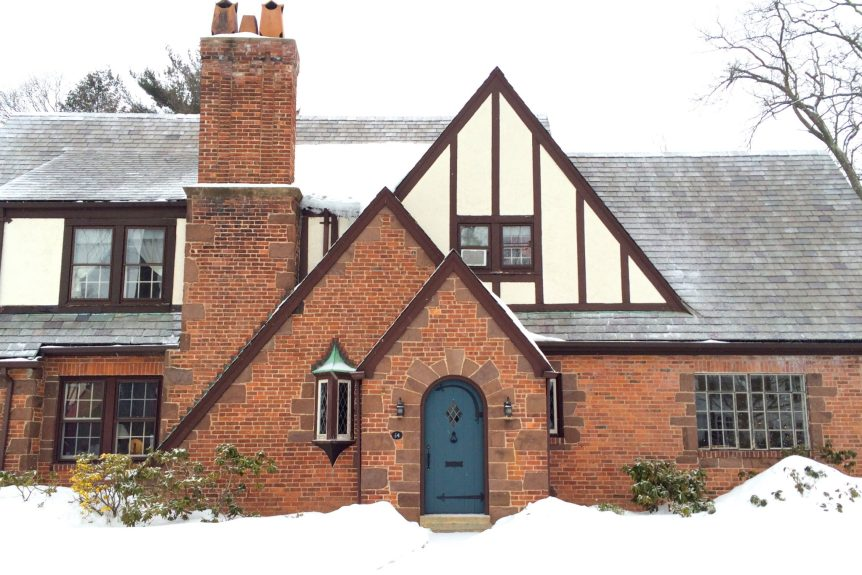 snow, winter, west hartford, ct, tudor